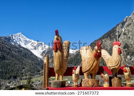 Winter view of Monte Bianco mountains. Aosta Valley. Italy - stock photo