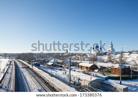 winter view of the train station in Russia. Travel to Russia - stock photo
