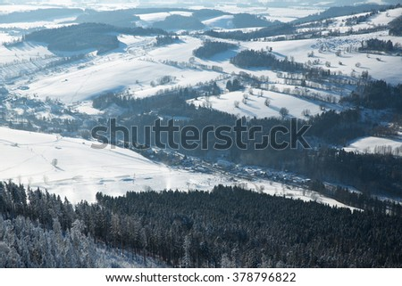 Winter view of the village of Dolni Morava in Czech Republic - stock photo