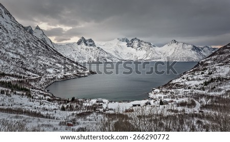 Winter view to Mefjord on Senja island in the sunset, Troms county - Norway - stock photo
