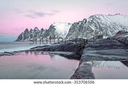Winter view to Steinfjord on Senja island in the sunrise, Troms county - Norway - stock photo