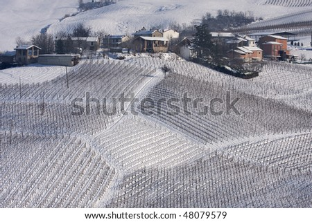 Winter vineyards and village in Oltrepo Pavese, Pavia, Italy. - stock photo