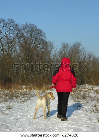 Winter walk with dog.