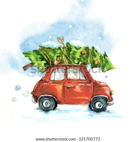 Winter watercolor greeting card with red retro car, Christmas tree, Vintage Merry Christmas and Happy New Year illustration - stock photo