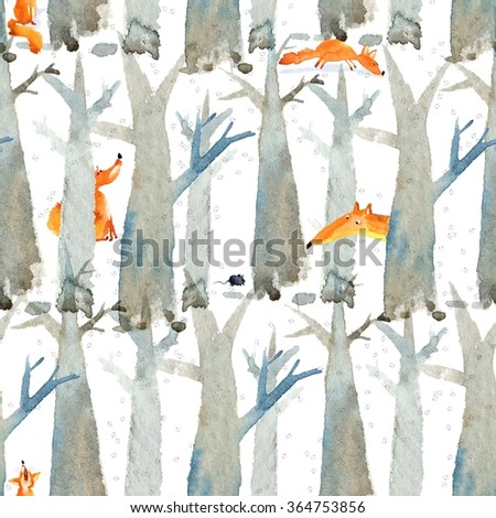 Winter watercolor pattern or poster design with foxes and trees silhouettes. Watercolor pattern with fox.  Watercolor seamless pattern. - stock photo