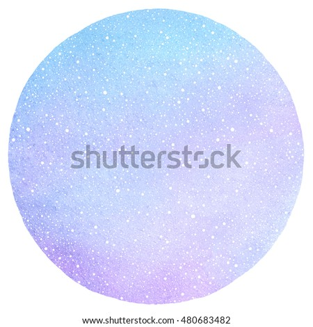 Winter watercolor round background with falling snow dots texture. Circle shape. Christmas, New Year hand drawn template with tiny specks, flecks snowflakes. Shades of blue watercolour stains.