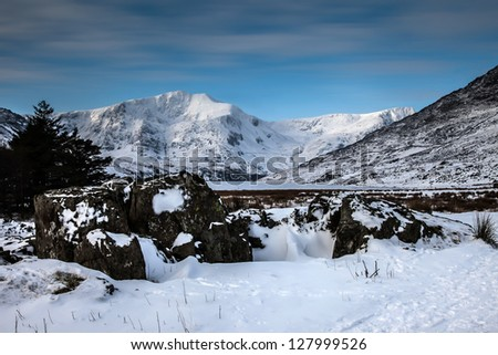 Winter white Snowy scenes around Snowdonia National Park North Wales UK