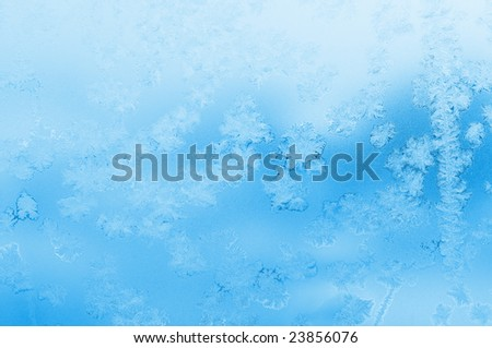 winter window with picture of frost - stock photo