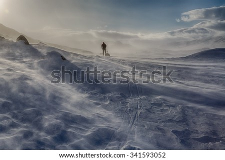 Winter Winds on a Expedition  - stock photo