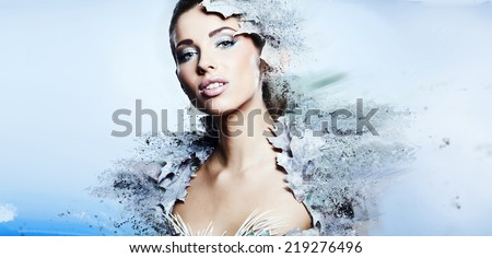 Winter woman  in a dress of Snow Queen  - stock photo