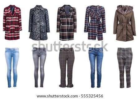 Winter women's clothes collage. Clothing isolated on white.