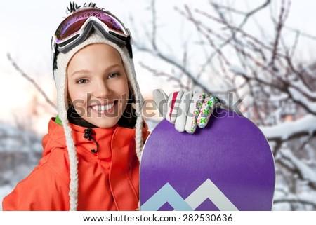 Winter, Women, Snowboard. - stock photo