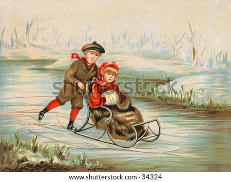 Winter Wonderland - an early 1900s vintage illustration. - stock photo