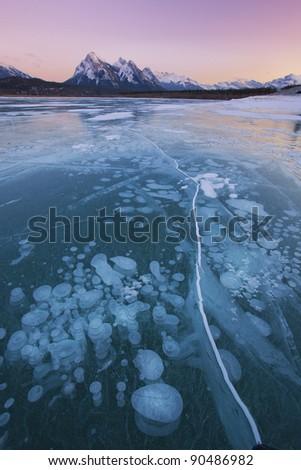 Winter Wonderland in Abraham Lake, Alberta, Canada - stock photo