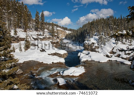 Winter Wonderland in Bragg Creek, Kananaskis Country, Alberta, Canada - stock photo