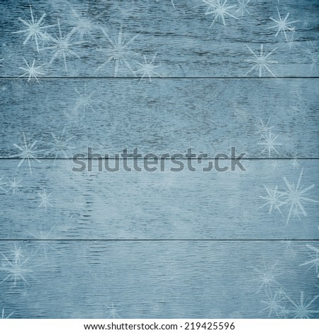 Winter wooden decor with snowflakes  - stock photo