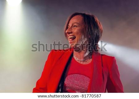 """WINTERBACH -  JULY 26: Singer Gianna Nannini's concert in the """"Zelt Spektakel"""" July 26, 2011 in Winterbach, Germany - stock photo"""