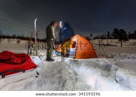 Wintercamping on the Kungsleden - stock photo