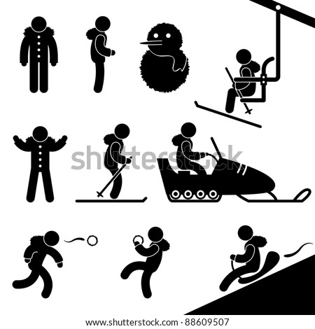 Wintertime Activity Pictogram - stock photo