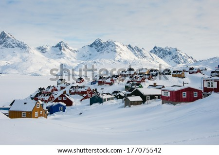 Wintertime in Tasiilaq, East Greenland. - stock photo