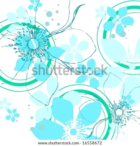 Wintry background  illustration of floral pattern with abstract rose flowers in modern blue and green tones