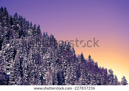 Wintry, snow covered landscape in the alps - stock photo