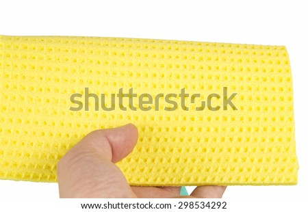 Wipe in hand isolated on white background - stock photo
