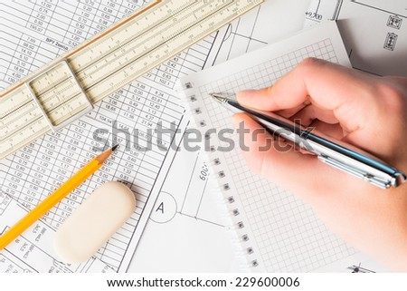 Wipe the slate clean, planning engineers and architectural works - stock photo