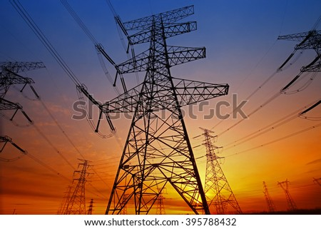 Wire electrical energy at sunset  - stock photo
