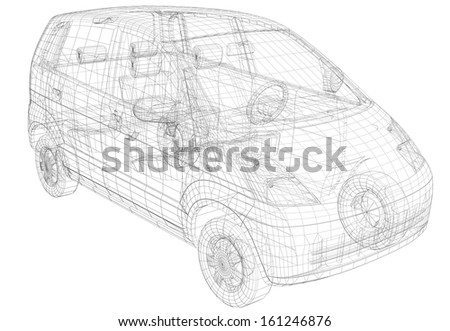 Wire frame car. Isolated render on a white background - stock photo