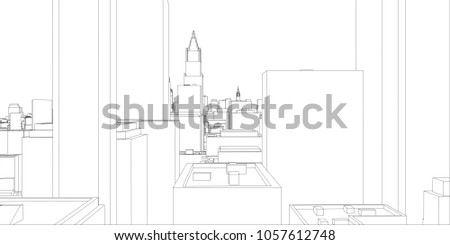 Wireframe new york city blueprint style stock illustration wire frame new york city blueprint style 3d rendering architecture design background malvernweather Image collections