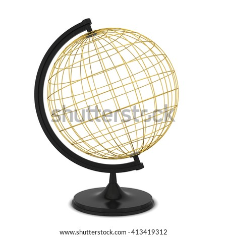 Wire globe. 3d illustration isolated on white background - stock photo
