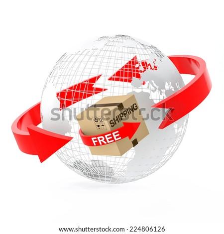 Wire globe with free shipping cardboard box - stock photo
