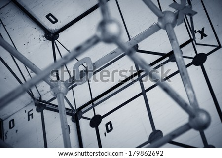 Wire model of geometric projections.