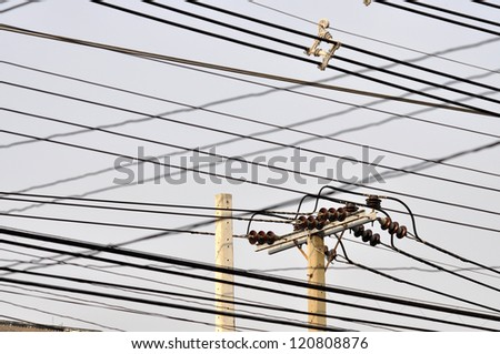 Wire Post Sky Mess Outdoor - stock photo