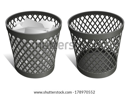 Wire trash can / waste bin / recycle bin - stock photo