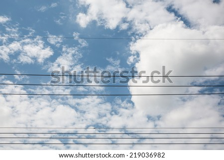 wire with blue sky - stock photo