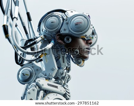 Wired black man in robotic medic suit. Profile 3d render / Dragonfly II - stock photo