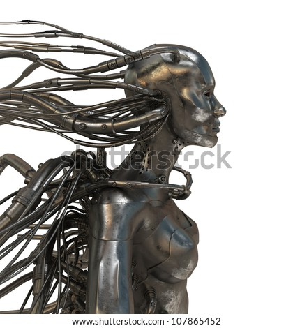 Wired cyber man - stock photo