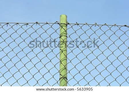 wired fence with pole