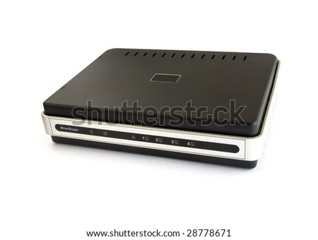 Wired Network Broadband Router Isolated On Stock Photo 28778671 ...