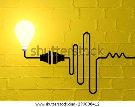 Wired plug connection with lighting bulb - stock photo