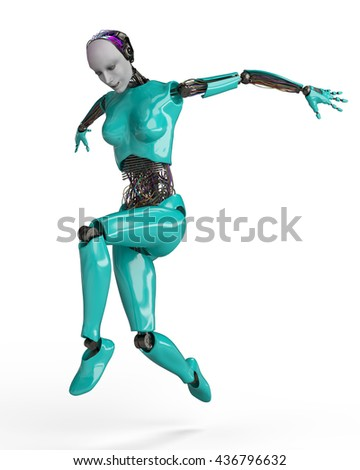 wired woman cyborg 3d illustration - stock photo