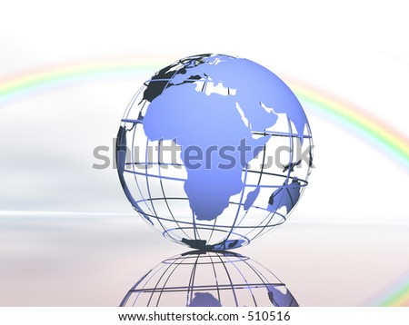 Wireframe 3D rendered of world. - stock photo
