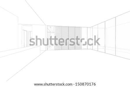 Wireframe drawing background of interior space for design and decoration - stock photo