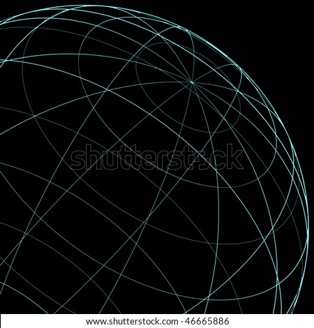wireframe globe section inverse - stock photo