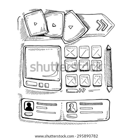 Wireframe UI Kit. Web design portfolio sketch elements. Isolate on white background - stock photo