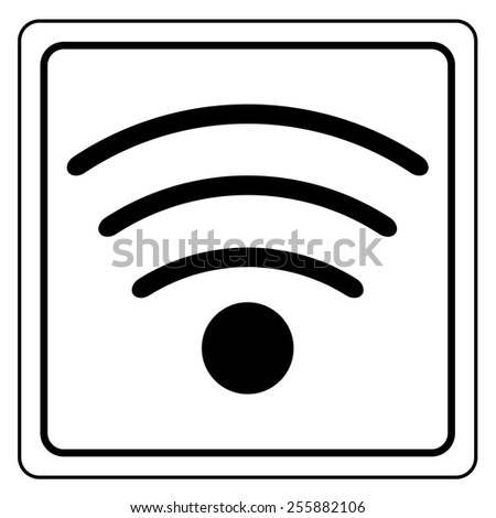 Wireless and wifi icon or sign for remote internet access. Podcast symbol. - stock photo