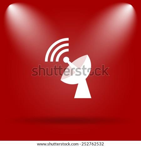 Wireless antenna icon. Flat icon on red background.  - stock photo