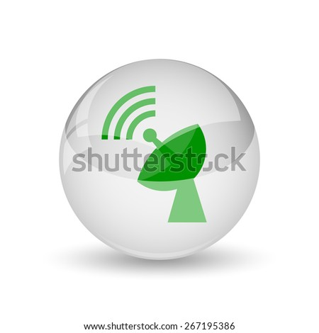 Wireless antenna icon. Internet button on white background.
